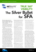 True 360 Degree Visibility: The Silver Bullet for SFA