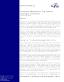 Knowledge Management: The Power of Leveraging Information