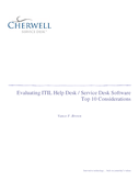 Evaluating ITIL Help Desk-Service Desk Software - Top 10 Considerations