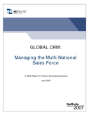 GLOBAL CRM: Managing the Multi-National Sales Force