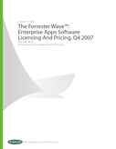 The Forrester Wave: Enterprise Apps Software Licensing And Pricing, Q4 2007